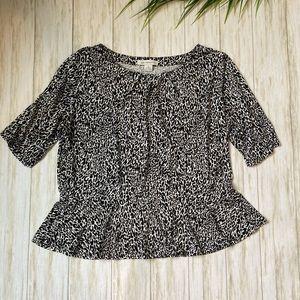 Liz Claiborne xl black white leopard peplum top